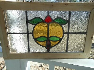 MA13-569 Lovely Older Leaded Stain Glass Window From England Reframed