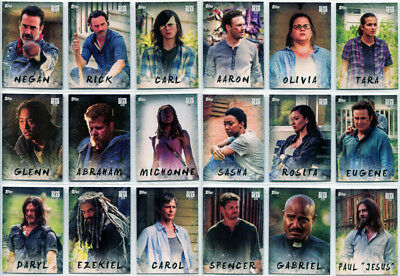 Walking Dead Season 7 Character Complete 19 Card Chase Set C-1 to C-19
