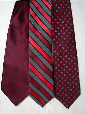 8b43c4d4348b #50 Lot of 3 Designer100% SILK BURGANDY TIES Saville Row & George