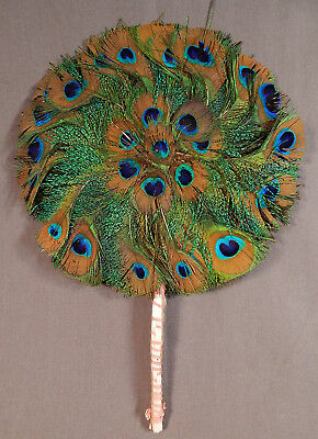 Vintage Art Deco Peacock Feather Round Circular Handscreen Flapper Fixed Fan