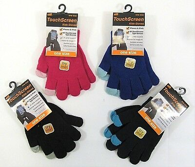Childrens Kids Girls Boys Gloves Touch Screen Thermal Black Warm Winter One Size