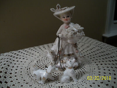 1950's Lipper & Mann Porcelain Lady Flower Basket Walking Two Poodles