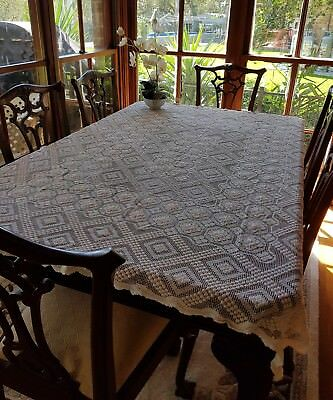 Vintage Sardinian Lacis Hand Knotted Filet Net Lace TableCloth 170 cm Reticella