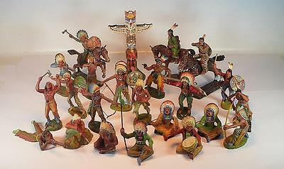 Elastolin Masse Figuren Wildwest Indianer Konvolut mit 18 Figuren 3 Reiter #114