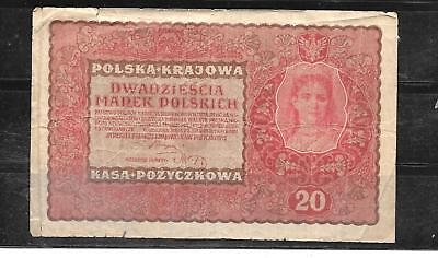 Poland Polish #28 1919 20 Marek Good Circ Old Banknote Paper Money Currency Note