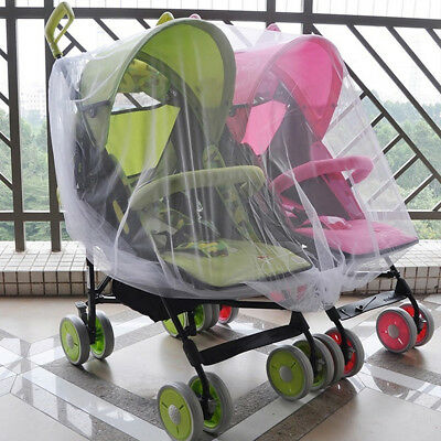 Twins Baby Buggy Pram Mosquito Cover Net Pushchair Stroller Fly Insect Protector