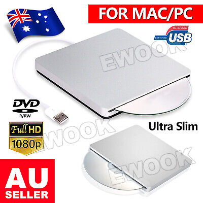 USB External DVD Writer Burner RW ROM Drive CD Player For Notebook Mac Laptop AU