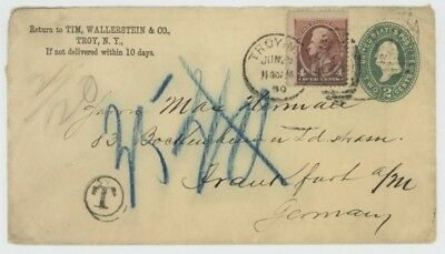 Mr Fancy Cancel 211 ON 2c ENV TIED TROY NY 1890 DUPLEX TO GERMANY POSTAGE DUE