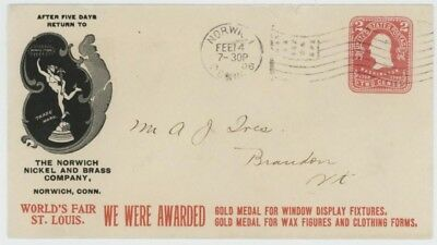 Mr Fancy Cancel 2c ILLUSTRATED AD COVER NORWICH NICKEL & BRASS SHOWING MERCURYtm