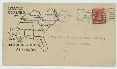 Mr Fancy Cancel 2c ILLUSTRATED AD COVER SOUTHERN BANKER SHOWING STATES MAP 1905