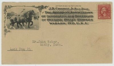 Mr Fancy Cancel 2c PHOTO ILLUSTRATED AD COVER ASSOC BREEDER BEGIAN DRAFT HORSES