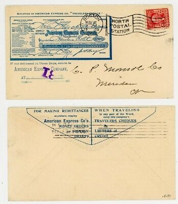 Mr Fancy Cancel 2c ILLUSTRATED 2-SIDED AD COVER AMERICAN EXPRESS BOSTON 1908