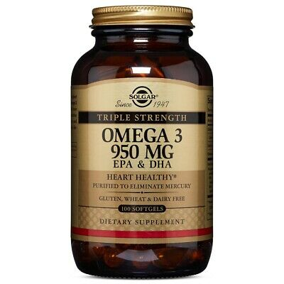 Solgar Triple Strength Omega-3 950 mg 100 Softgels Made In USA, FREE US SHIPPING