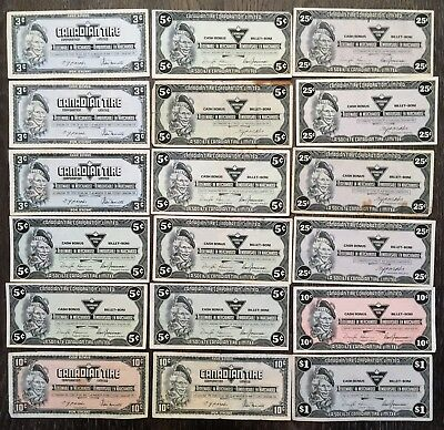 Lot of 18 Vintage Canadian Tire 3-5-10-25-$1 Cent Notes - Free Combined S/H