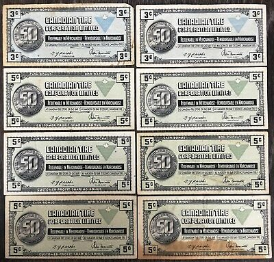 Lot of 8x Vintage 1972 Canadian Tire 3 & 5 Cents Notes - CTC-S3-A & B