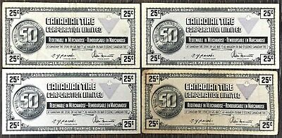 Lot of 4x Vintage 1972 Canadian Tire 25 Cents Notes - CTC-S3-D