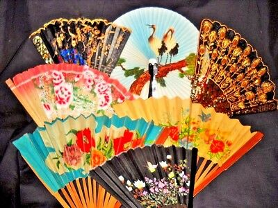VINTAGE FOLDING FAN COLLECTION LOT OF 7  Paper Metal Plastic Bamboo Silk 2 Boxed