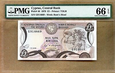 (3) CYPRUS ~ 1979 ~ 1 POUND NOTE(S) ~ Pick # 46 ~ PMG MS66 EPQ ~ CONSECUTIVE S/N