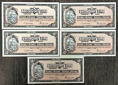 Lot of 5x 1974 Canadian Tire 10 Cents Notes ***Crisp Uncirculated*** CTC-S4-C-CM