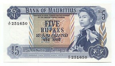 Mauritius 5 Rupees ND (1967) Crisp Uncirculated, P-30B