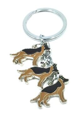 German Shepherd Dog Breed  Lovers Key Chain or Purse Charm 3 Dogs attached