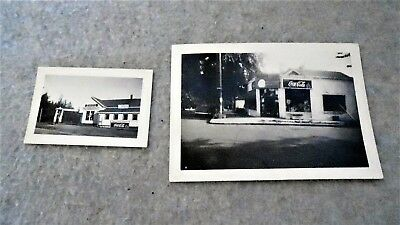 2 Vintage Photos with Coca Cola Signs, 1940's Drug Store & Old Gas Station