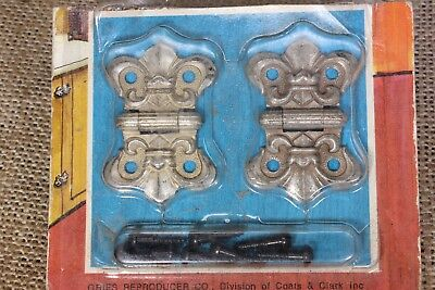 "2 decorative hinges jewelry box 1 1/8 x 1 5/8"" 1970's vintage fleur-de-lis"