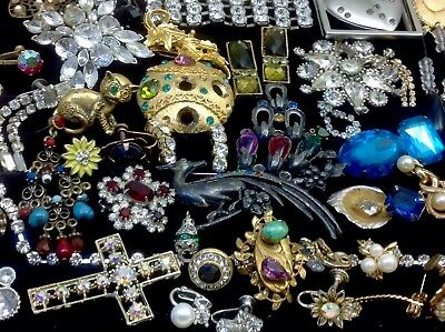 Large Lot Of Vintage~Retro Rhinestone, Crystal.. Jewelry For Repair, Parts (E36)