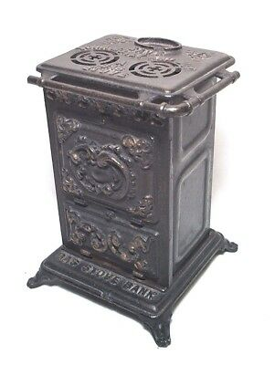 "Antique 5 1/2"" Cast Iron & Pressed Metal Gas Stove Advertising Bank"