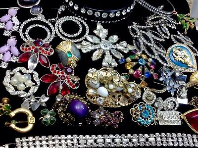 Large Lot Of Vintage~Retro Rhinestone/crystal.. Jewelry For Repair, Parts (E213)