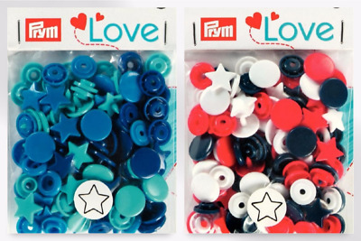 Prym Love Plastic Star Coloured Snaps Press Fasteners - per pack of 30 (39306...