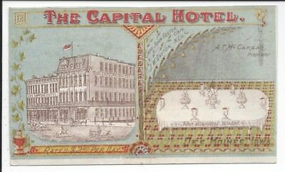 Trade Card, The Capital Hotel, Des Moines, Iowa, 1880s