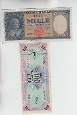 Italy Paper Money 2 old notes vf and up one has writing