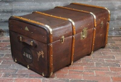 Beautiful Banded Brass Bound Antique Trunk