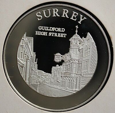 Surrey Ancient County of England Silver medal hallmarked 40g *[12343]