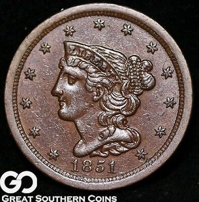 1851 Half Cent, Braided Hair, Uncirculated Copper Piece