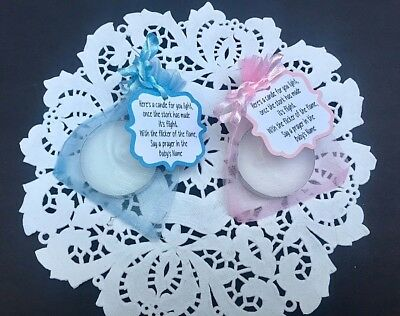 Baby Shower Tea Candle Lights Favour Tags Only  Pink Blue, Lemon