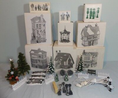 Lot Dept 56 Dickens Village Christmas Buildings (5) Accessories (32pcs) 5SocCord