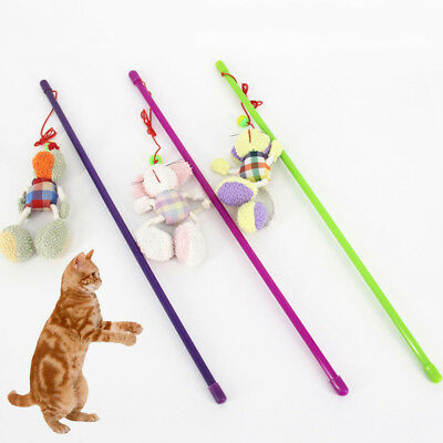 Multi Funny Pet Cat Kitten Toy Mouse Teaser Wand Animal Rod Cat Play Toys Gift