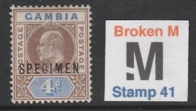 010  GAMBIA KE7 4d opt'd SPECIMEN with BROKEN M variety mint only 13 can exist