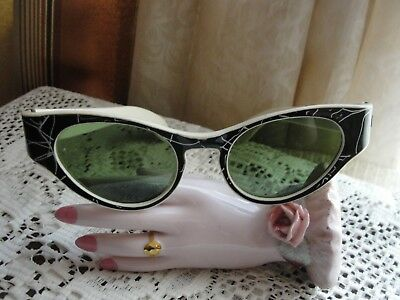 Vintage Cool Black And White Lucite Cat Sunglass 1950's Original Signed Fg Usa
