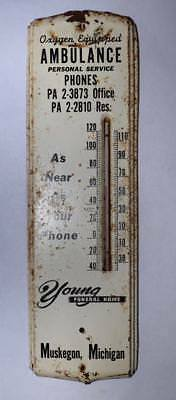 Vtg. Tin Advertising Thermometer -Young Funeral Home/Ambulance - Muskegon, MI