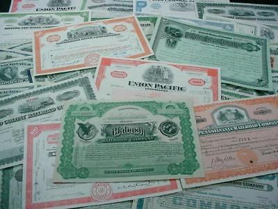 NobleSpirit NO RESERVE {3970}Selection of Antique RR Stock Certificates