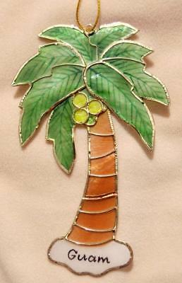 "5"" Hand Painted Guam Capiz Shell Coconut Tree Christmas Ornament"