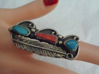 "Sterling Old Pawn Ring W, Turquoise & Coral Stones 2"" Top  Size 6.5"