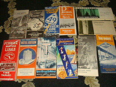 12 Vintage Transportation and Tourist Brochures - CA, Florida +++