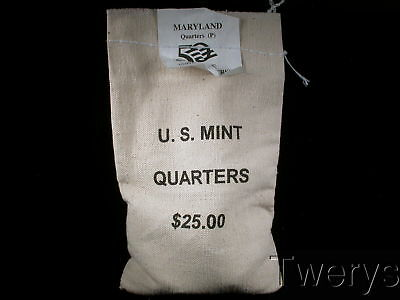 Us Mint Sewn Bag 2000-P Maryland State Quarters 100 Coins $25 Face Value