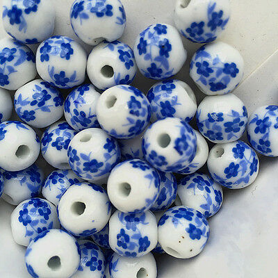 100pcs deep Blue Plum Blossom Round Porcelain Beads Findings 10mm Loose Spacer