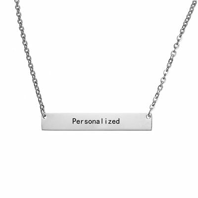Stainless Steel Personalized Engraved DIY Custom Letters Name Pendant Necklace