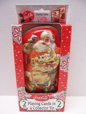 Coca-Cola Brand 2 Decks of Playing Cards in a Collector Santa Tin NEW